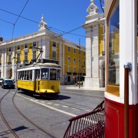 Tram in Lisbon - Pousada in the background
