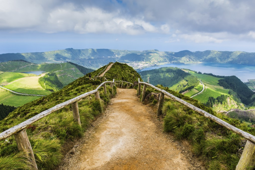 Walking path to the lakes of Sete Cidades, Azores, Portugal