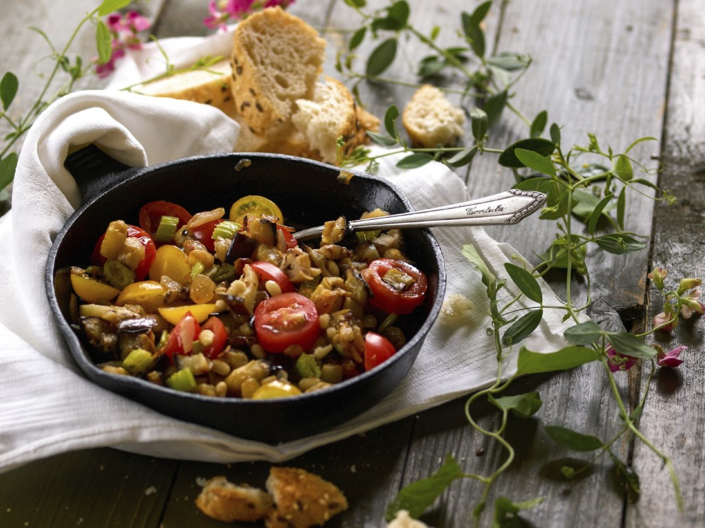 An Italian summer dish  associated with Sicily, Caponata, with selective focus