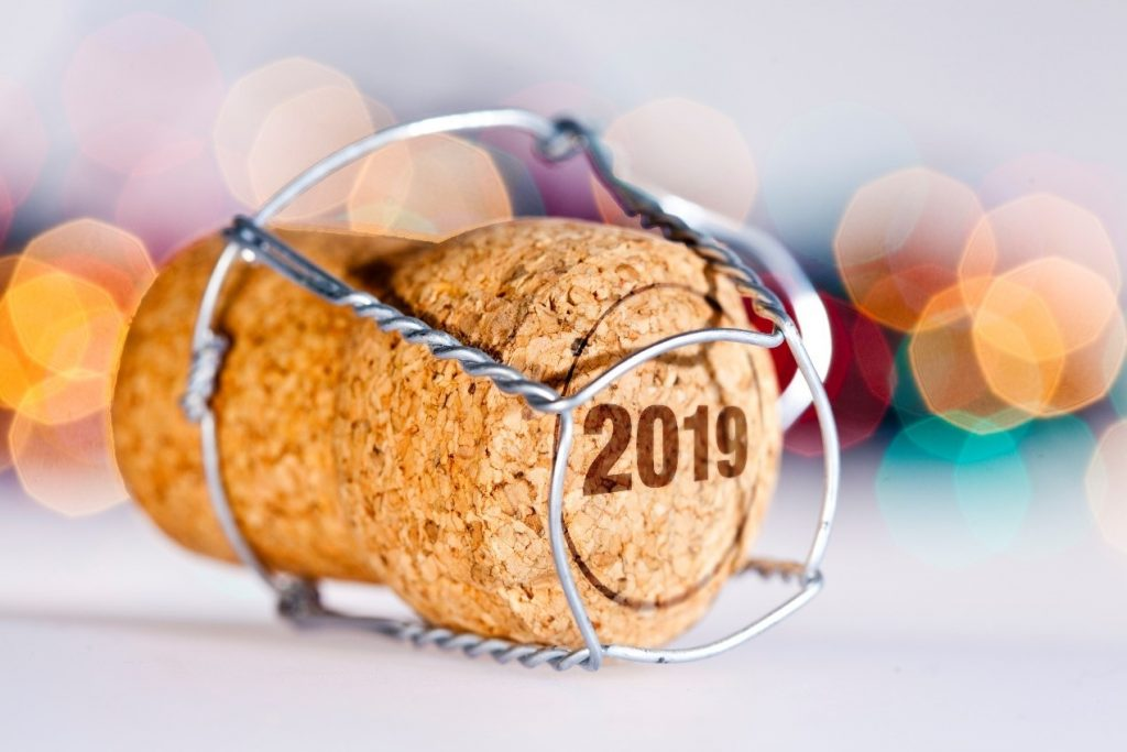new year's eve cork with 2019 written on top