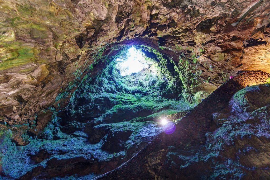 Ultra wide angle of the entrance to Algar do Carvao Caves, Terceira Island, Azores, Portugal