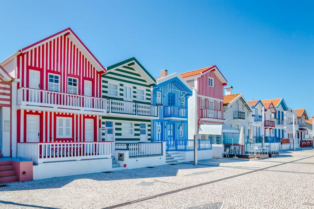 Costa Nova, Portugal: colorful striped houses in a beach village