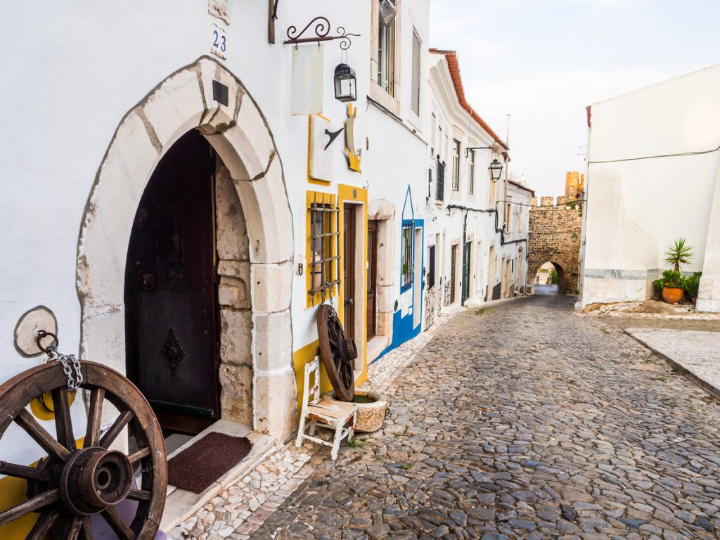 Street in the Old Town of Estremoz, Portugal