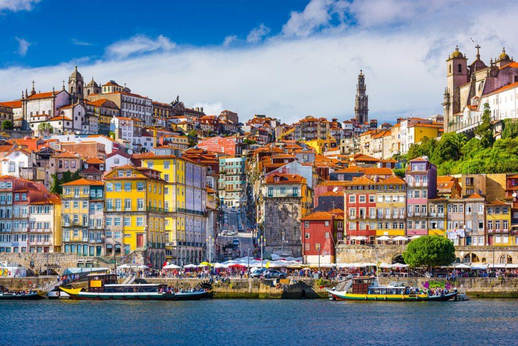 colourful ribeira in porto, portugal