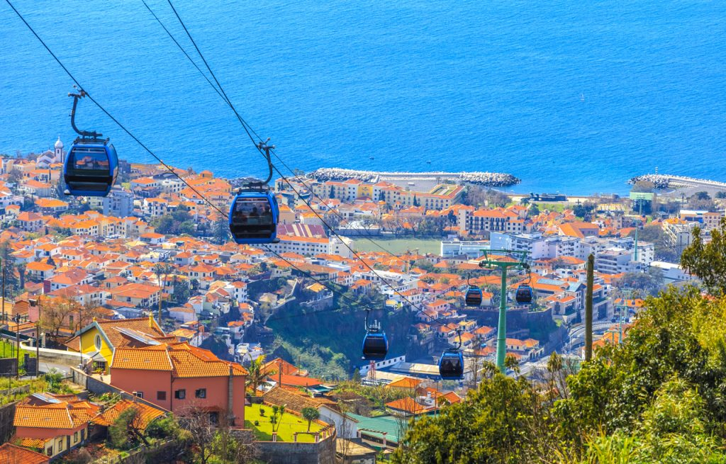 Cable cars above Funchal capital in Madeira