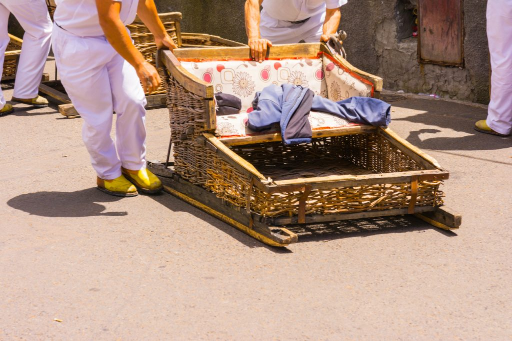 Wicker toboggan ride from Monte to Funchal, Madeira island, Portugal